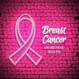 Breast Cancer Awareness Month Emblem, White Ribbon Symbol. Shiny Neon Lamp Glow Stylization on Pink Brick Wall. Template for Banner, Poster, Invitation, Flyer Stock Photography