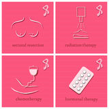 Breast Cancer Awareness Month icons. Breast Cancer healing set. Breast Cancer Awareness Month icons. Vector illustration Stock Photos