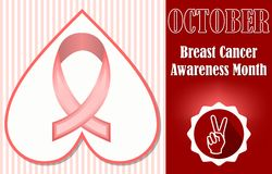 Breast cancer awareness month october. Hopeful leaflet or label template royalty free illustration
