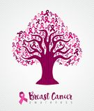 Breast cancer awareness month pink ribbon tree art Stock Photography