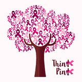 Breast cancer awareness month pink ribbon tree art Royalty Free Stock Photo