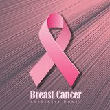 Breast Cancer Awareness Month poster or banner design with realistic pink ribbon. stock illustration