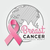 Breast Cancer Awareness Month poster or banner design with realistic pink ribbon. vector illustration