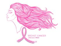 Breast cancer awareness month poster with pink ribbon and women portrait. Royalty Free Stock Photography