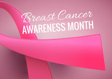 Breast Cancer Awareness Month Poster. Vector october background with pink ribbon Stock Photo