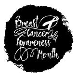 Breast Cancer Awareness Month. Sign quote hand lettering. Modern calligraphy with pink ribbon. Grunge texture background can be printed on t-shirts, bags royalty free illustration