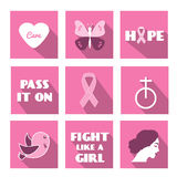 Breast cancer awareness month vector flat icons with slogan, phrases and symbols Royalty Free Stock Images