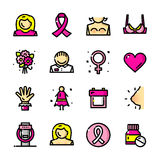 Breast Cancer Awareness Month vector icons Stock Photography