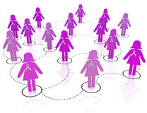 Breast cancer awareness network. Network of female breast cancer awareness supporters and survivors Stock Photos