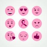 Breast cancer awareness pink emoji face icon set Stock Image
