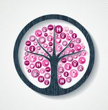 Breast cancer awareness pink health icon tree. Breast cancer awareness month concept illustration for help and support. Tree design with pink women health care Royalty Free Stock Image
