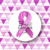 Breast cancer awareness pink ribbon badge art Stock Photography