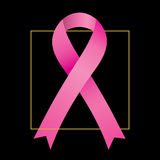 Breast cancer awareness pink ribbon. On black background Stock Images