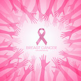 Breast Cancer AWARENESS with pink ribbon in circle hands vector illustration design Stock Photo