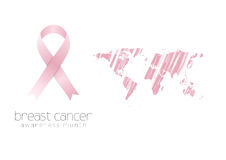 Breast cancer awareness pink ribbon and grunge map Royalty Free Stock Images