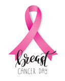 Breast Cancer Awareness pink Ribbon with lettering Royalty Free Stock Images
