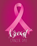 Breast Cancer Awareness pink Ribbon with lettering Stock Photos