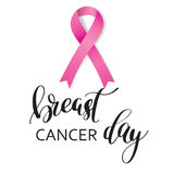 Breast Cancer Awareness pink Ribbon with lettering Stock Photo