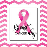 Breast Cancer Awareness pink Ribbon with lettering Royalty Free Stock Photography