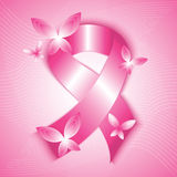 Breast cancer awareness pink ribbon. Royalty Free Stock Image