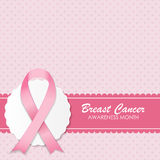 Breast Cancer Awareness Pink Ribbon Vector stock illustration