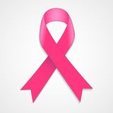Breast cancer awareness pink ribbon on white background. Stock Photo
