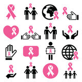 Breast cancer awareness pink ribbons icon set Royalty Free Stock Photography