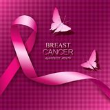 Breast cancer awareness pink ribbons. Vector illustration Royalty Free Stock Images
