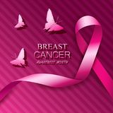 Breast cancer awareness pink ribbons. Vector illustration Royalty Free Stock Photos