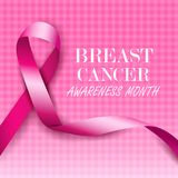 Breast cancer awareness pink ribbons. Vector illustration Stock Photography