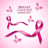 Breast cancer awareness pink ribbons. Vector illustration Royalty Free Stock Photography