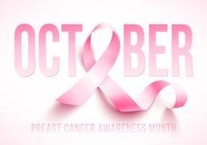 Breast cancer awareness. Realistic pink ribbon, breast cancer awareness symbol, vector illustration Royalty Free Stock Photos