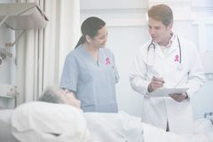 Composite image of breast cancer awareness ribbon Stock Image