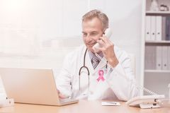 Composite image of breast cancer awareness ribbon Royalty Free Stock Images