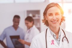 Composite image of breast cancer awareness ribbon Royalty Free Stock Image