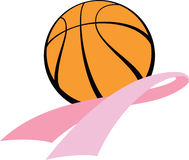Breast Cancer Awareness Ribbon with Basketball Stock Photo