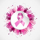 Breast cancer awareness ribbon hand social badge Royalty Free Stock Photos