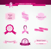 Breast cancer awareness ribbon and labels set EPS1 Royalty Free Stock Photos