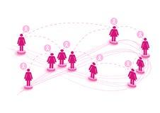 Breast cancer awareness ribbon network women speech. EPS10 file. stock images