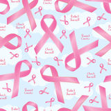 Breast cancer awareness ribbon sign seamless pattern Stock Image