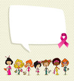 Breast cancer awareness ribbon social bubble women group EPS10 f. Breast cancer awareness concept illustration. Global diversity women communication idea, social Royalty Free Stock Images