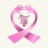 Breast cancer awareness ribbon text human hands co Stock Photos