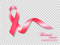 Breast cancer awareness ribbon on a transparent background. Royalty Free Stock Photography