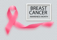 Breast Cancer Awareness Ribbon. Vector design and Royalty Free Stock Images