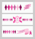 Breast cancer awareness ribbon web banners set. stock images