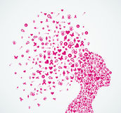 Breast cancer awareness ribbon woman head composit royalty free illustration