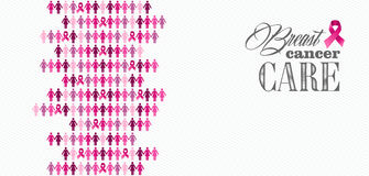 Breast cancer awareness ribbon women figures compo. Breast cancer awareness ribbon care elements and women figures composition. Vector file organized in layers Royalty Free Stock Photos