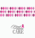 Breast cancer awareness ribbon women figures vecto Royalty Free Stock Photos