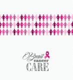 Breast cancer awareness ribbon women figures vecto royalty free stock photos