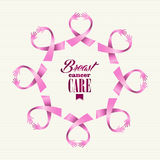 Breast cancer awareness ribbon women hands circle. Breast cancer awareness ribbon elements women hands circle shape composition. Vector file organized in layers Royalty Free Stock Photos